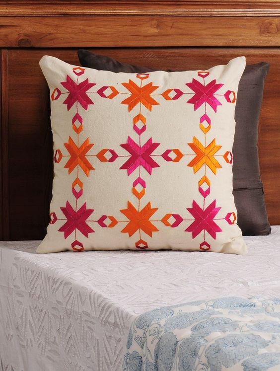 Cream Fuschia Orange Phulkari Embroidered Cotton Cushion Cover Home Decor