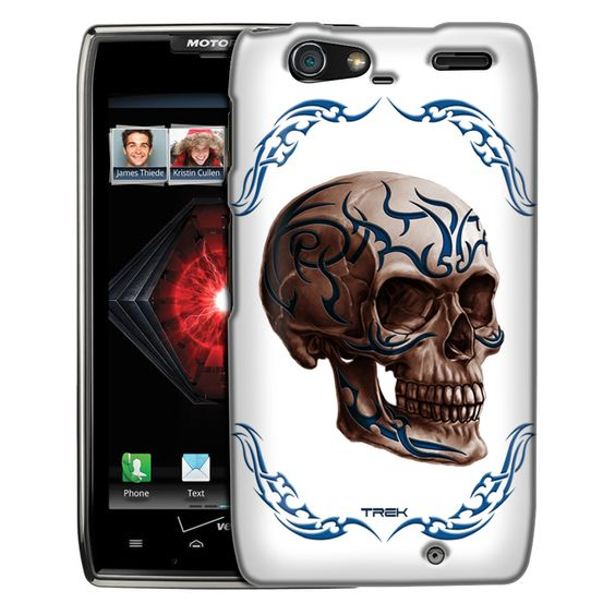Motorola Droid Razr Maxx Blue Tattoo Skull on White Slim Case