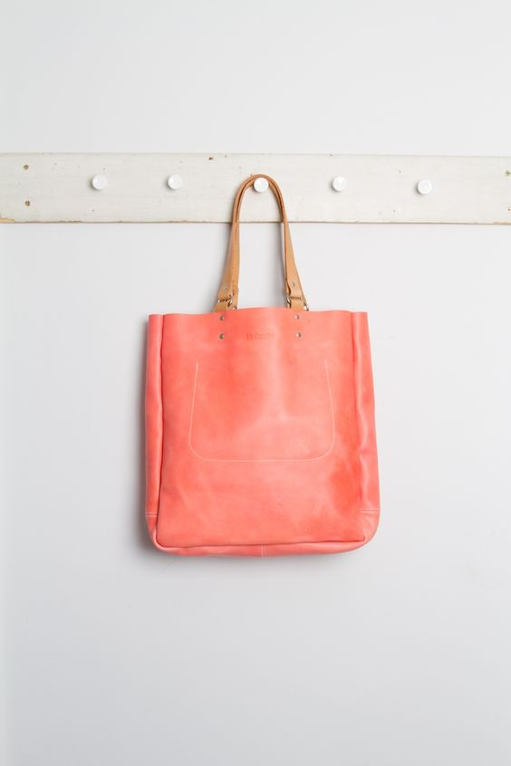 Gorgeous color.  Folk clothing -- apparently they are no longer making this bag -- such a shame!: Spring Color, Leather Tote, Leather Bags, Coral Handbag