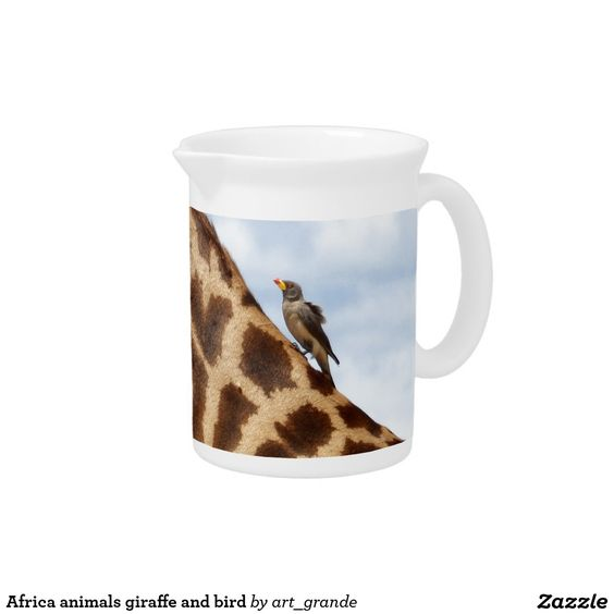 Africa animals giraffe and bird pitcher