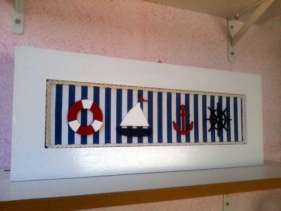 Quadro tema náutico ou marinheiro para decorar  medida 38 x 22  Peça única-  Pode decorar casa de praia- quarto infantil-
