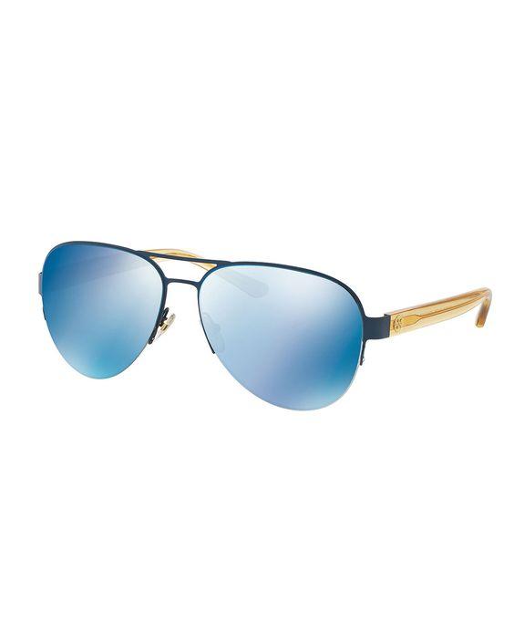 Mirrored Metal Aviator Sunglasses, Blue