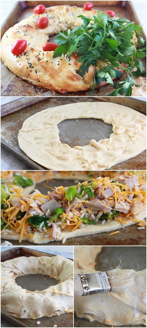 Cheesy Chicken and Broccoli Crescent Wreath   Recipe   Chicken ...