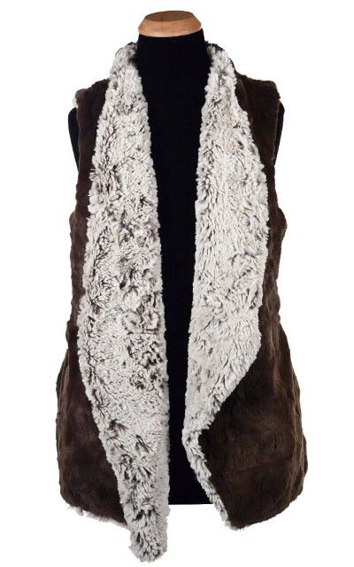 Asymmetrical Vest, Reversible less pockets – Luxury Faux Fur in Stratus with Cuddly Fur