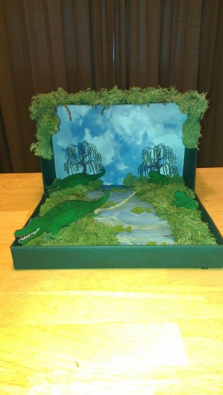 Kitchen Diorama Made Of Cereal Box: Swamp Diorama, Create A Critter, Cricut.