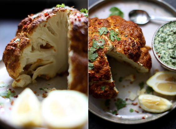 My New Roots: Whole Roasted Tandoori Cauliflower with Mint Chutney