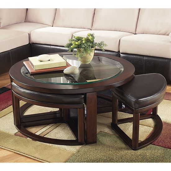 Signature Design By Ashley Marion Occasional Table Set Color Dark Brown Jcpenney In 2020 Coffee Table With Stools Coffee Table Ashley Furniture