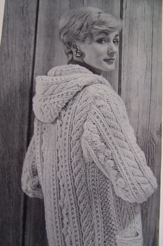 Ladies Aran Cardigan With Hood Knitting Pattern : Vintage Knitting Pattern - Aran Fisherman Chunky Hooded ...