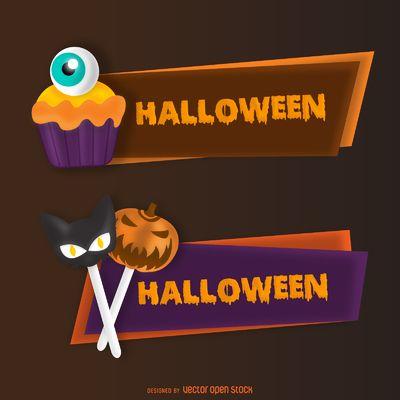 Conjunto de la bandera del caramelo de Halloween