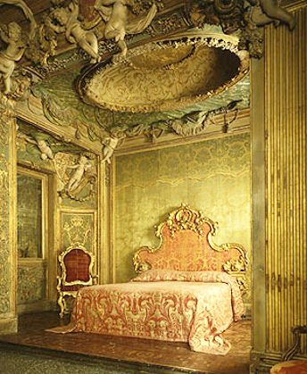 Louis Xiv Rococo Style Bedroom Displays Soft Green And