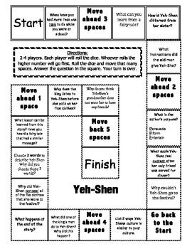 """Yeh-Shen"""" Comprehension Game Board- Journeys story 2nd grade ..."""