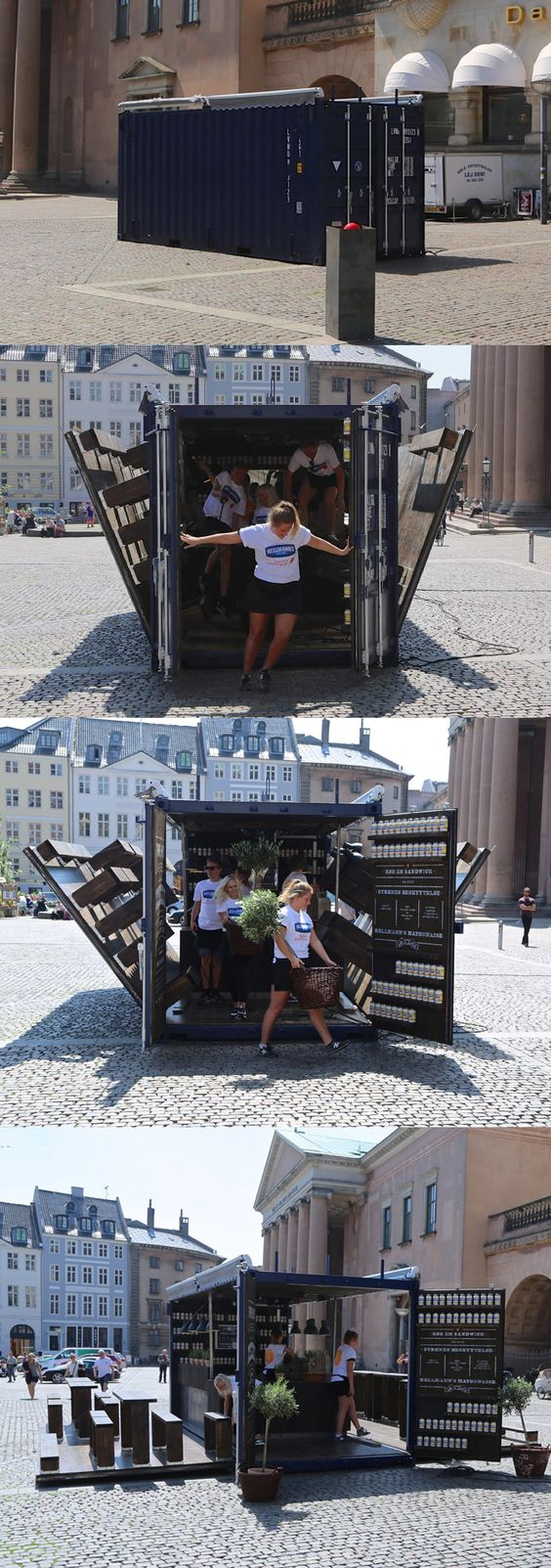 Push the red bottom - and wups ! A 45 m2 restaurant pops up. Dyrenes Beskyttelse & Hellmann´s Mayonnaise, Nytorv, Copenhagen.
