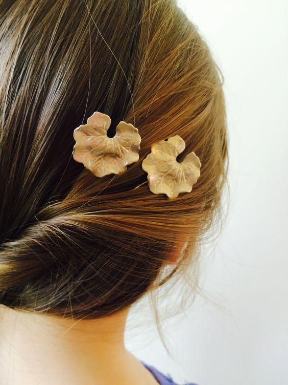 Silver Lily Pad Hair Pins