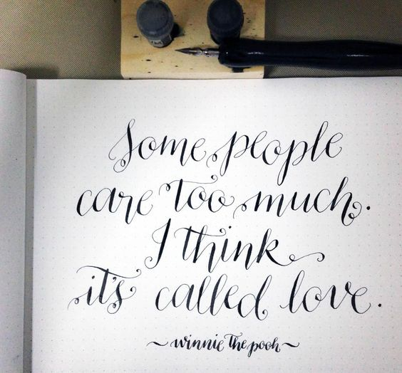 Modern calligraphy and winnie the pooh on