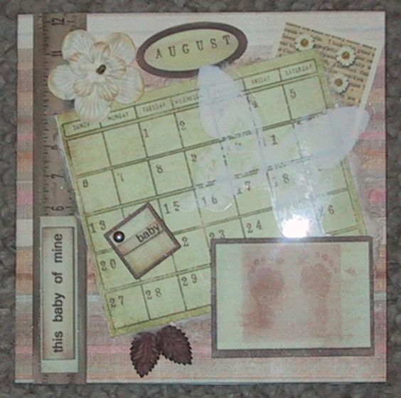 A Brand New Day - Baby Girl: Pink, rose, & cream striped cardstock,  blank calendar stamped (with day of birth marked), rose tinted flower, brown leaves, butterfly transparency, brass accents, & various ephemera (Crafting Creations ~JB pop-Eggs)