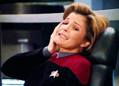 ... Voyager - Captain Kathryn Janeway (Kate Mulgrew) - Look of despair