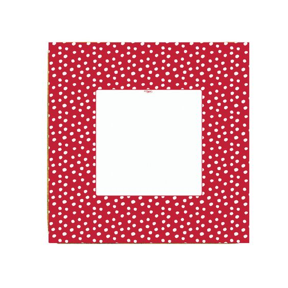Small dots red platos grandes - Topos con rayas