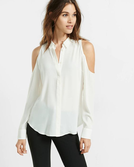 slim fit cold shoulder shirt