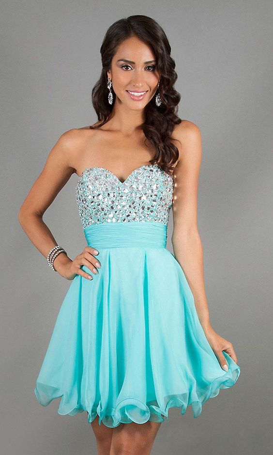 tiffany blue prom dress- affordable prom dresses- short prom dress ...