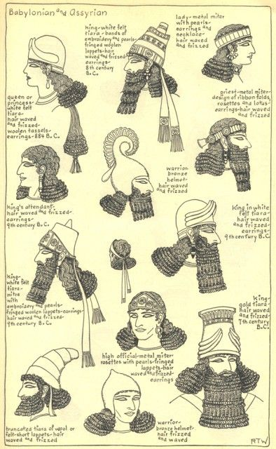 Village Hat Shop Gallery: Mesopotamian (great drawings of hair & hats from ancient history!!):