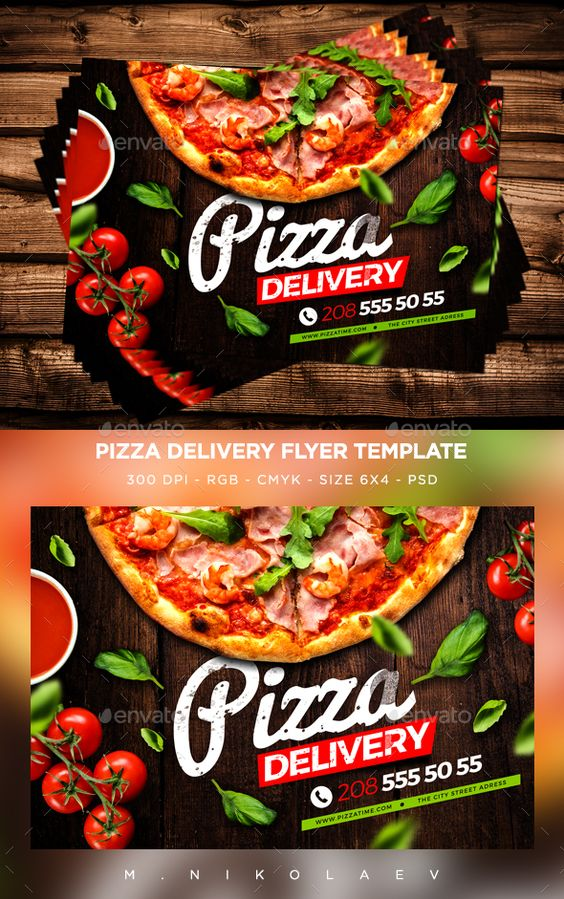 pizza delivery flyer flyers art and psd templates. Black Bedroom Furniture Sets. Home Design Ideas