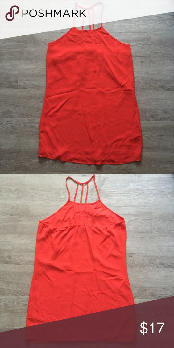 F21 Halter Dress Size M, like new, red orange halter style dress with strap design in the back, very comfortable to wear, made of 100% polyester. Forever 21 Dresses Mini