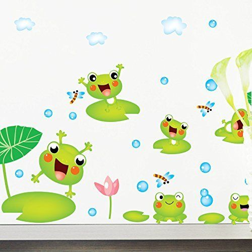 Mr S Shop Cute Green Frogs Wall Stickers For Bedroom Bathroom Wall