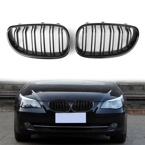 Front Kidney Twin Fins Gloss Grille Double Rib Grill For Bmw E60 E61 M5 5series 04 09 Glossb Bmw E60 Bmw Ribs On Grill