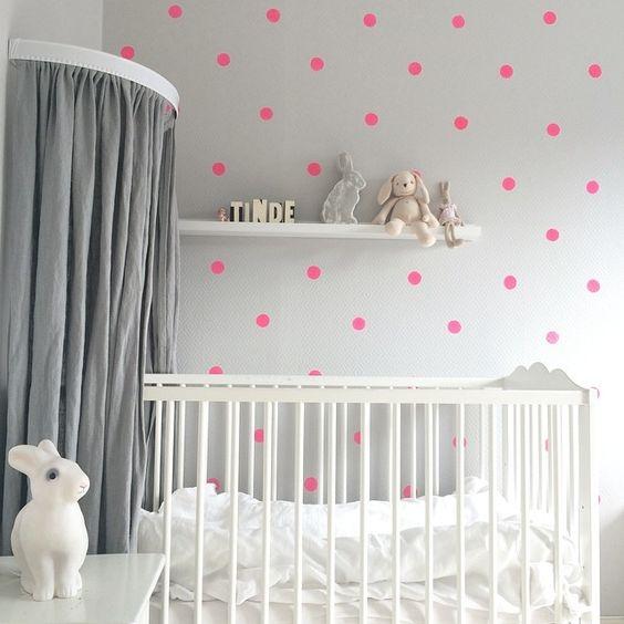 Nursery with polka dot wall by livingillusion