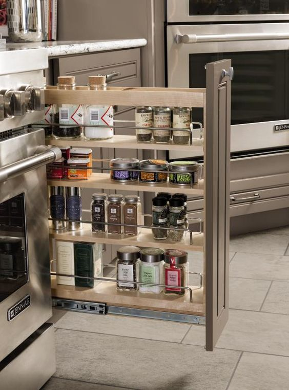Making The Most Of A Slim Space Diamond 39 S Base Pantry Pullout Is Perfect For Storage Of Spices