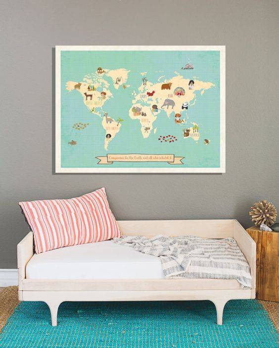 Global Compassion World Map Wall Art Print by ChildrenInspire
