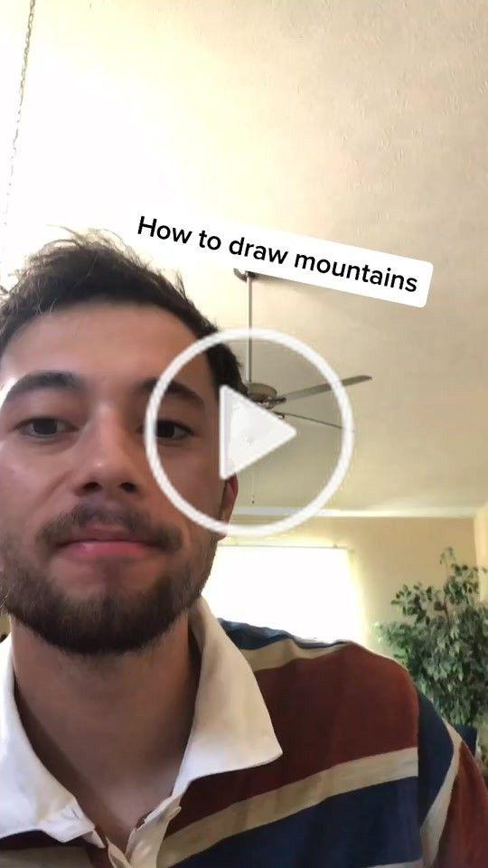 Aj Wiley Ajwileydesign On Tiktok How To Draw Mountains Fyp Art Utorial Foryou Artchallenge Mountain Drawing Art Challenge Drawings