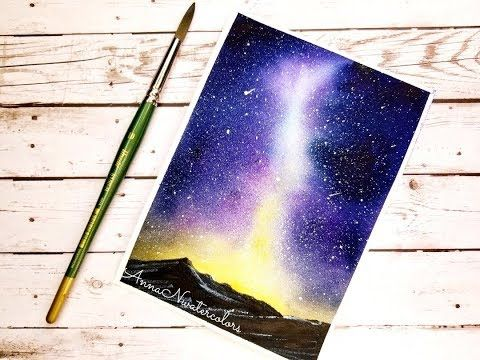 Galaxy Mountains Watercolor Painting Youtube Watercolor