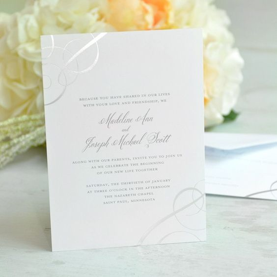 Silver Foil Swirls Invitation