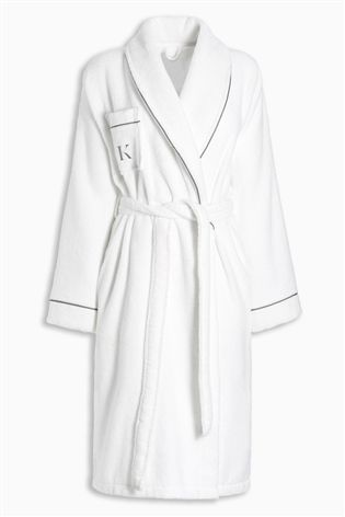 Towelling robe light/neutral colour