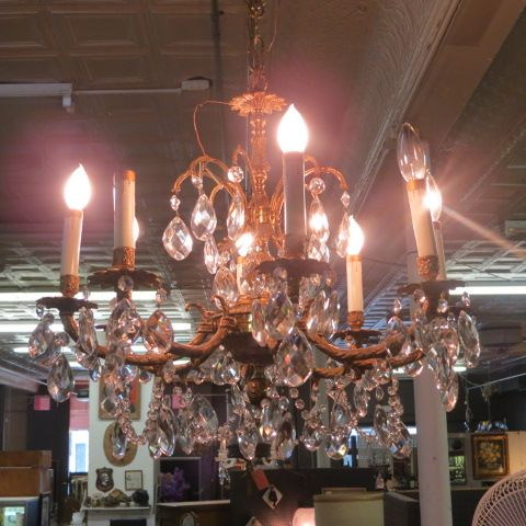 Vintage antique small 5 arm brass and crystal #chandelier, circa 1940.  beautiful crystal and brass chandelier, 5 lights. perfect size for you…    Pinteres… - SOLD. Vintage Antique Small 5 Arm Brass And Crystal #chandelier