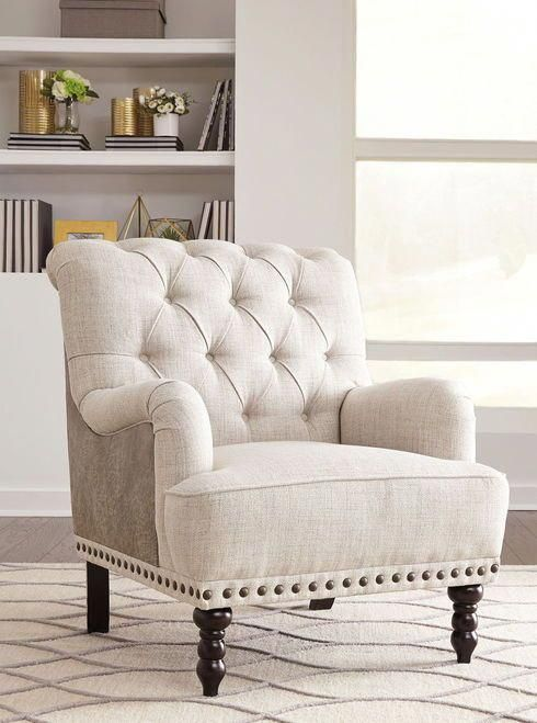 Tartonelle Ivory Taupe Accent Chair White Furniture Living Room Furniture Living Room Furniture