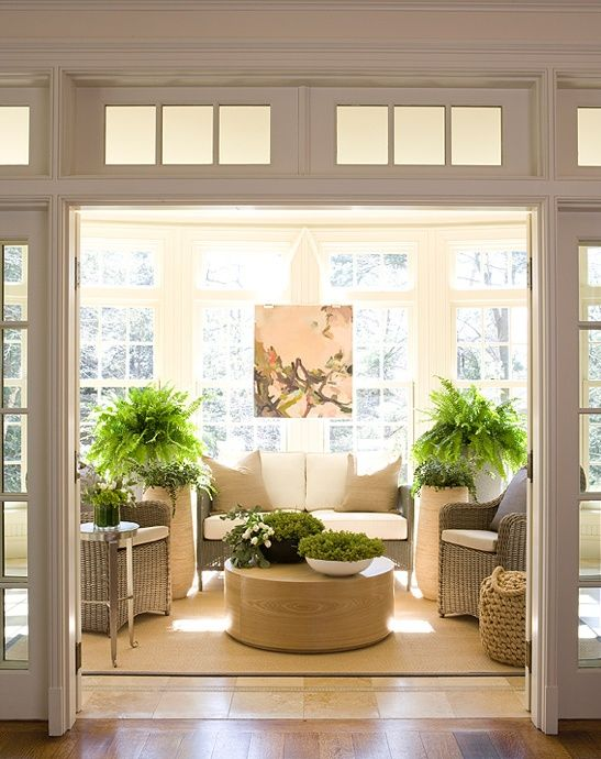 image from The Pink Pagoda/ Now that what I call a sun room. I would love a room like this to keep all my houseplants during the winter.