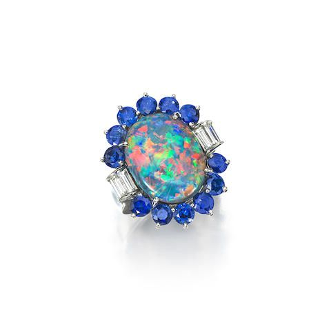 An opal, sapphire and diamond ring, Carvin French - Bonhams Fine Jewels May 2016