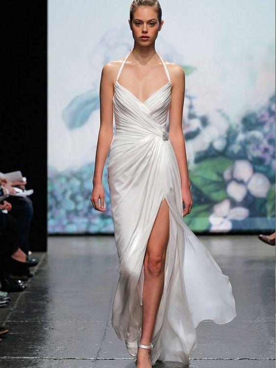 Weiße Eis Satin Halter Hals drapiert Mantel Herbst Brautkleid 2012 $340.2 Hochzeitskleider