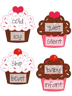 Match up synonym pairs by connecting cupcake pieces such for Coute synonyme