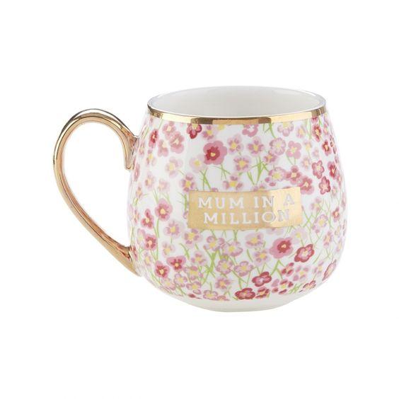Floral mum in a million ceramic mug