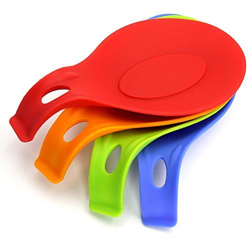Silikon L�ffel Rest Set - DHong 4 St�ck K�che Jumbo L�ffelhalter Set mit Hellen Bunten, Durable, Hitzebest�ndig, Sp�lmaschinenfest - FDA-Zulassung (Rot / Orange / Blau / Gr�n) - Big