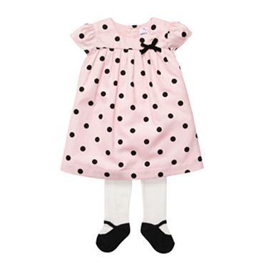Carter&-39-s® Pink &amp- Black Polka-Dot Dress with Tights - Girls newborn ...