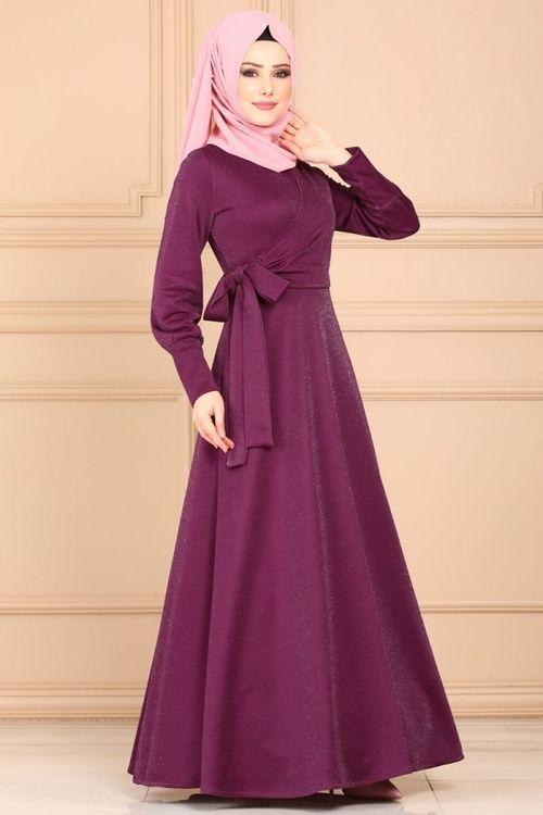 Modaselvim Elbise Yandan Baglamali Simli Elbise 5594mp186 Murdum Model Pakaian Gaun Pakaian