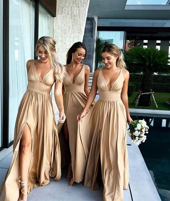 Champagne V-Neck Long Bridesmaid Dress