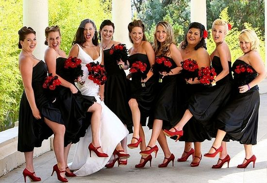 Black bridesmaids for a Hollywood wedding!