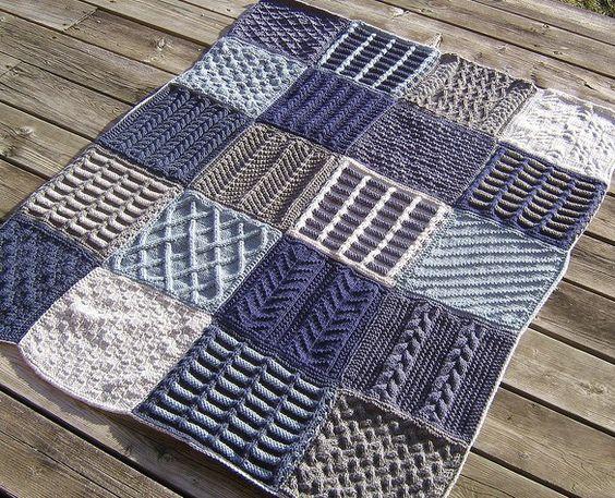 Knitting Patterns For Knitting Squares : Free knitting patterns for afghan sampler squares 2009 Afghan Strik og h?kl...