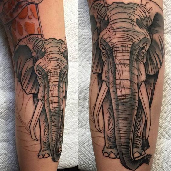 Abstract Elephant Tattoo by David Mushaney