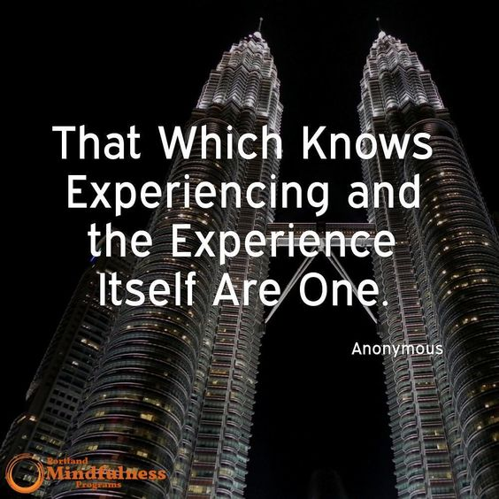 That which knows experiencing and the experience itself are one. -Anonymous